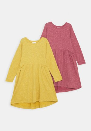 FREYA LONG SLEEVE DRESS 2 PACK - Gebreide jurk - very berry/honey gold