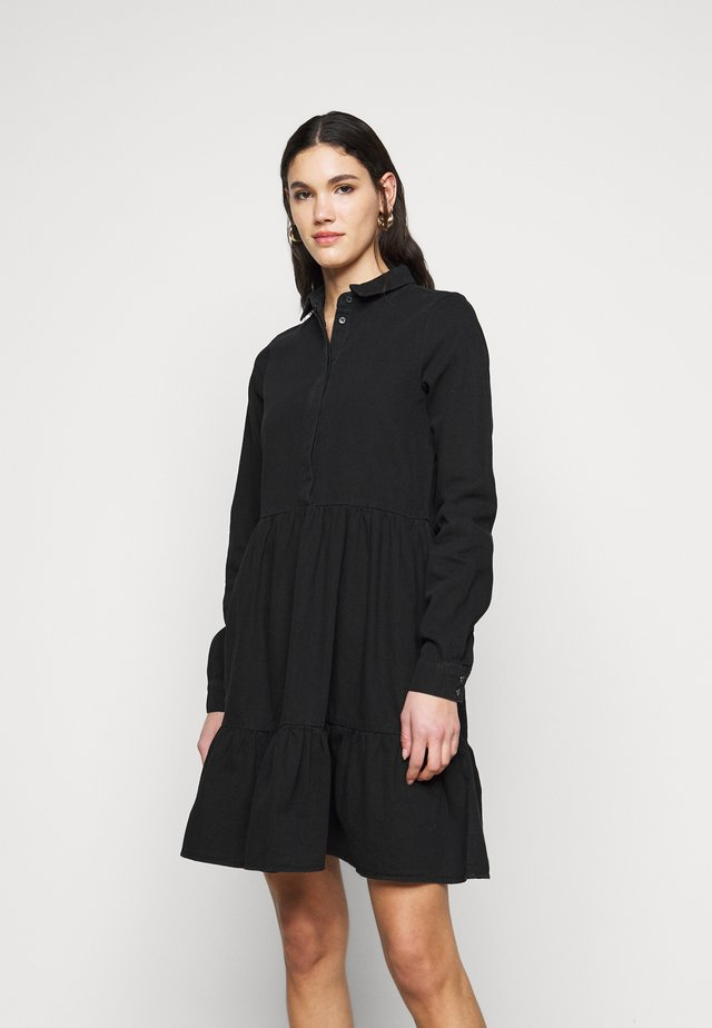 VMMARIA FRILL DRESS - Denim dress - black