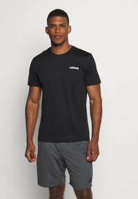 adidas Performance - TRAINING SPORTS SHORT SLEEVE TEE - Basic T-shirt - black/white - 0