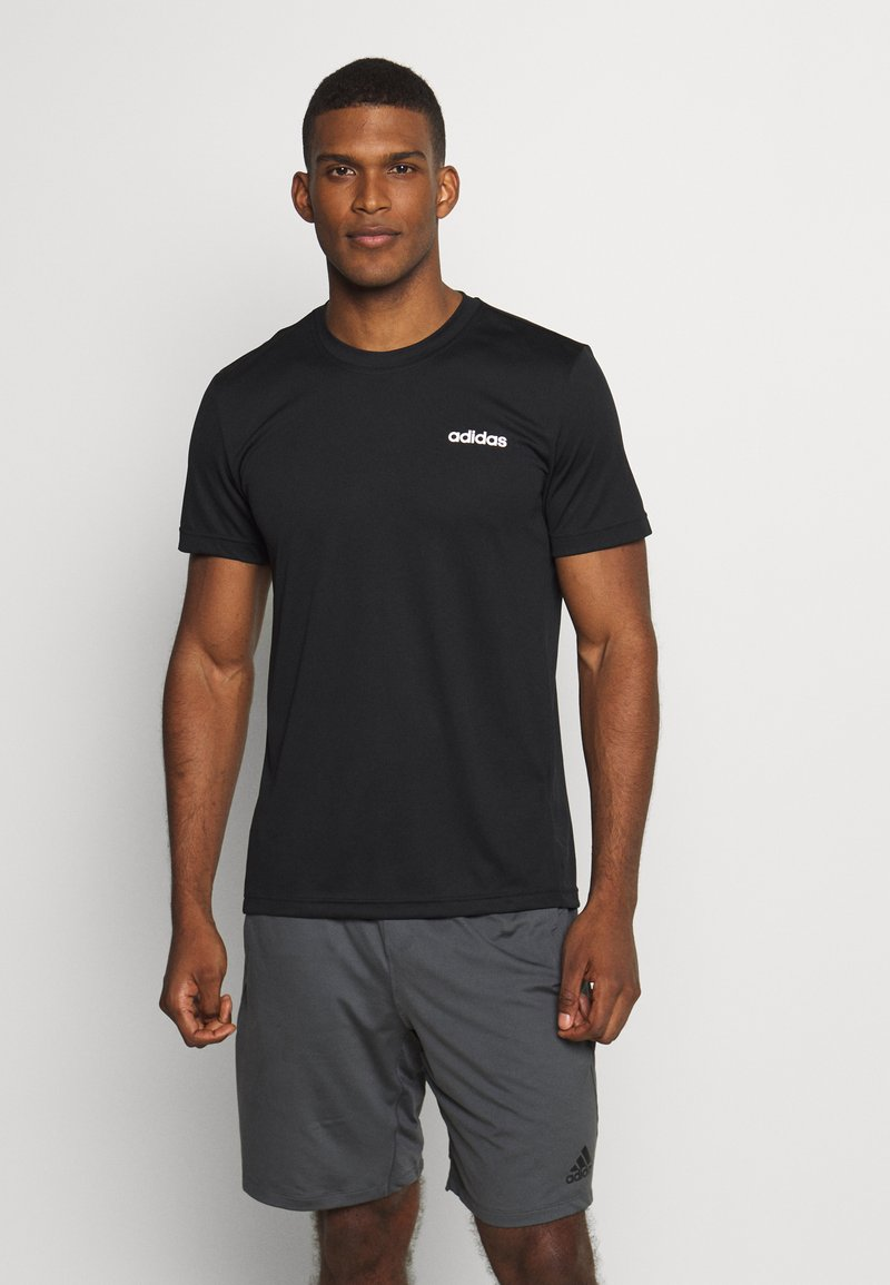 adidas Performance - TRAINING SPORTS SHORT SLEEVE TEE - Basic T-shirt - black/white