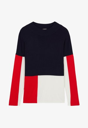 Long sleeved top - blu/latte/rosso