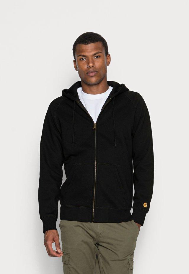 HOODED CHASE - Zip-up sweatshirt - black/gold