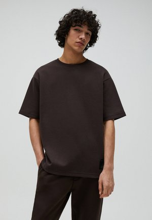 Basic T-shirt - mottled brown