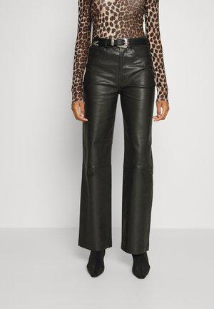 MIA PANT - Leren broek - black