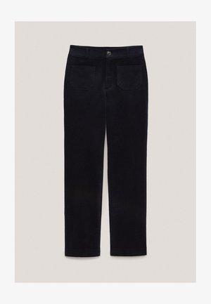 AUS BAUMWOLL-MICROCORD  - Pantalon classique - dark blue