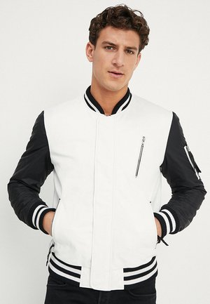 BESASCHA - Leather jacket - white/black
