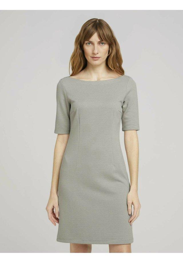 Korte jurk - grass offwhite thin stripe