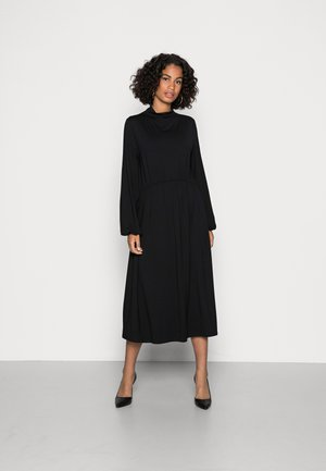DRESS GATHERING AT WAIST AND SLEEVES - Jersey dress - black