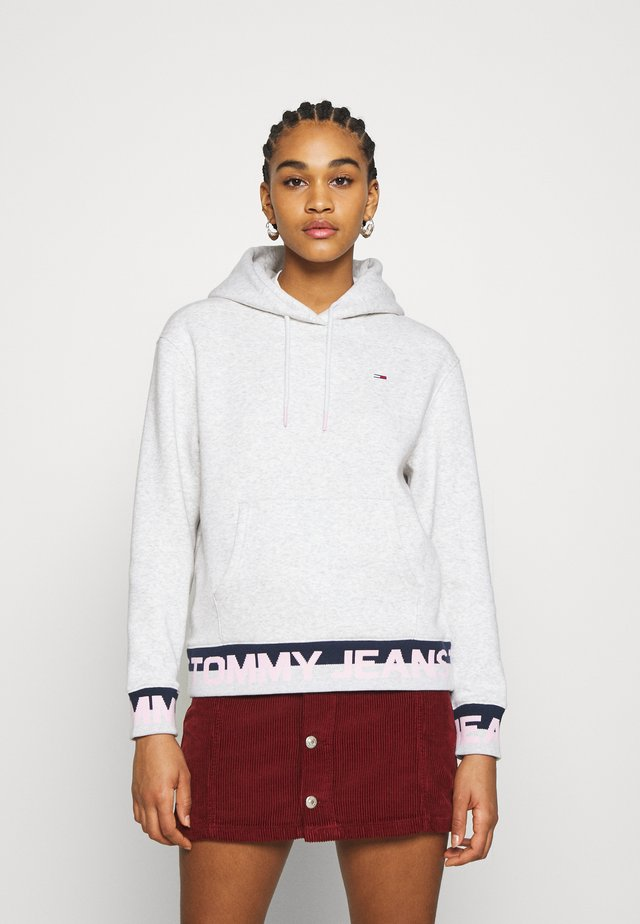 BRANDED HEM HOOD - Hoodie - silver grey heather