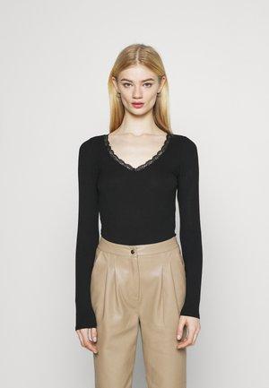 TRIM WRAP - Long sleeved top - black