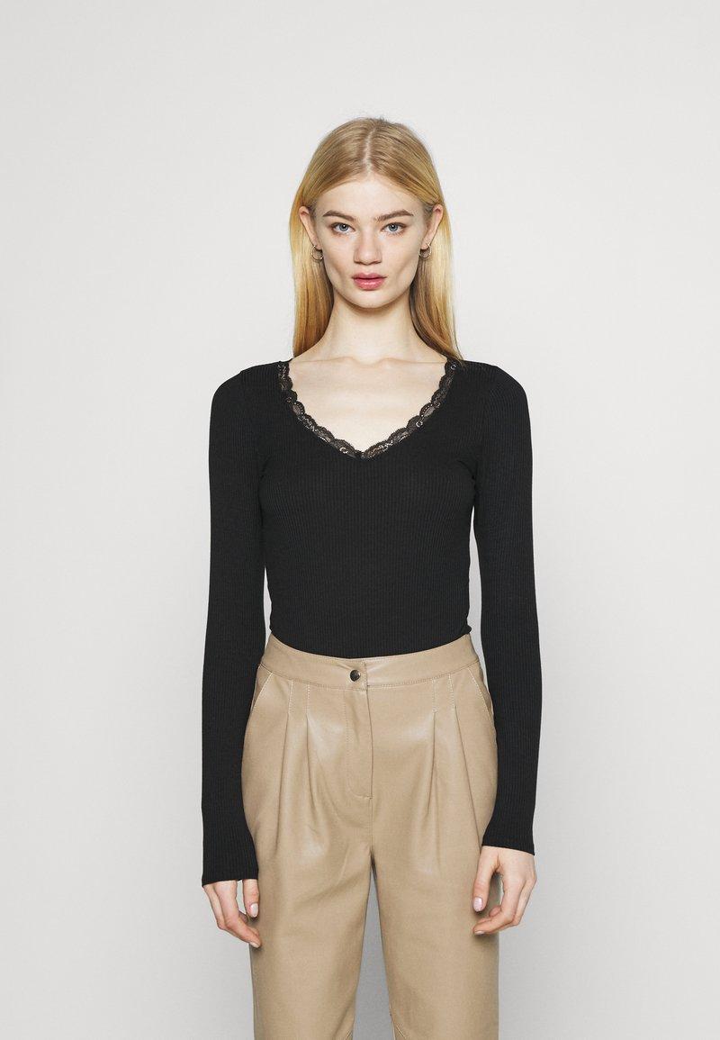 Hollister Co. - TRIM WRAP - Long sleeved top - black