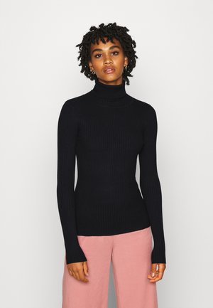 BASIC- RIBBED TURTLE NECK - Strikkegenser - black