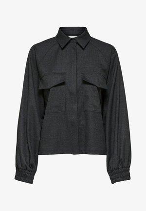 Button-down blouse - dark grey melange