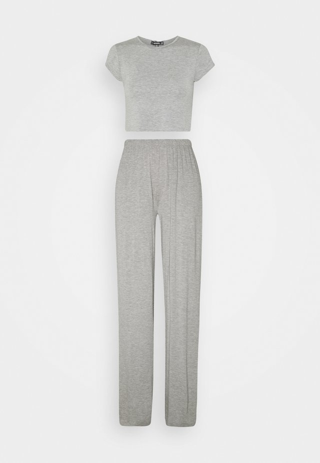 CAP SLEEVE CROP TOP WIDE LEG SET - Pyjama set - dark grey