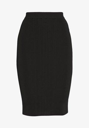 CONTOURED MIDI SKIRT - Jupe crayon - black