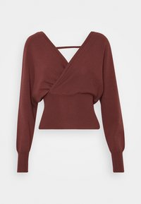 Missguided - WRAP FRONT BATWING  - Strickpullover - mocha - 0