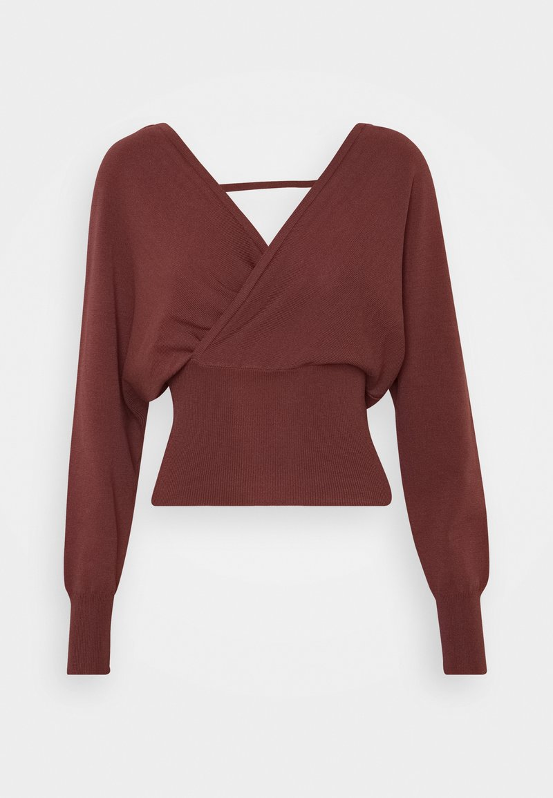 Missguided - WRAP FRONT BATWING  - Strickpullover - mocha