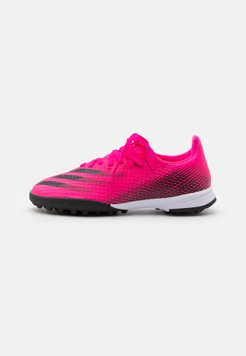 X GHOSTED.3 TF UNISEX - Astro turf trainers - shock pink/core black/screaming orange