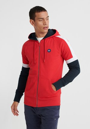 COLLECTIVE COLOUR BLOCK ZIP HOOD - Sweat à capuche - lollipop red