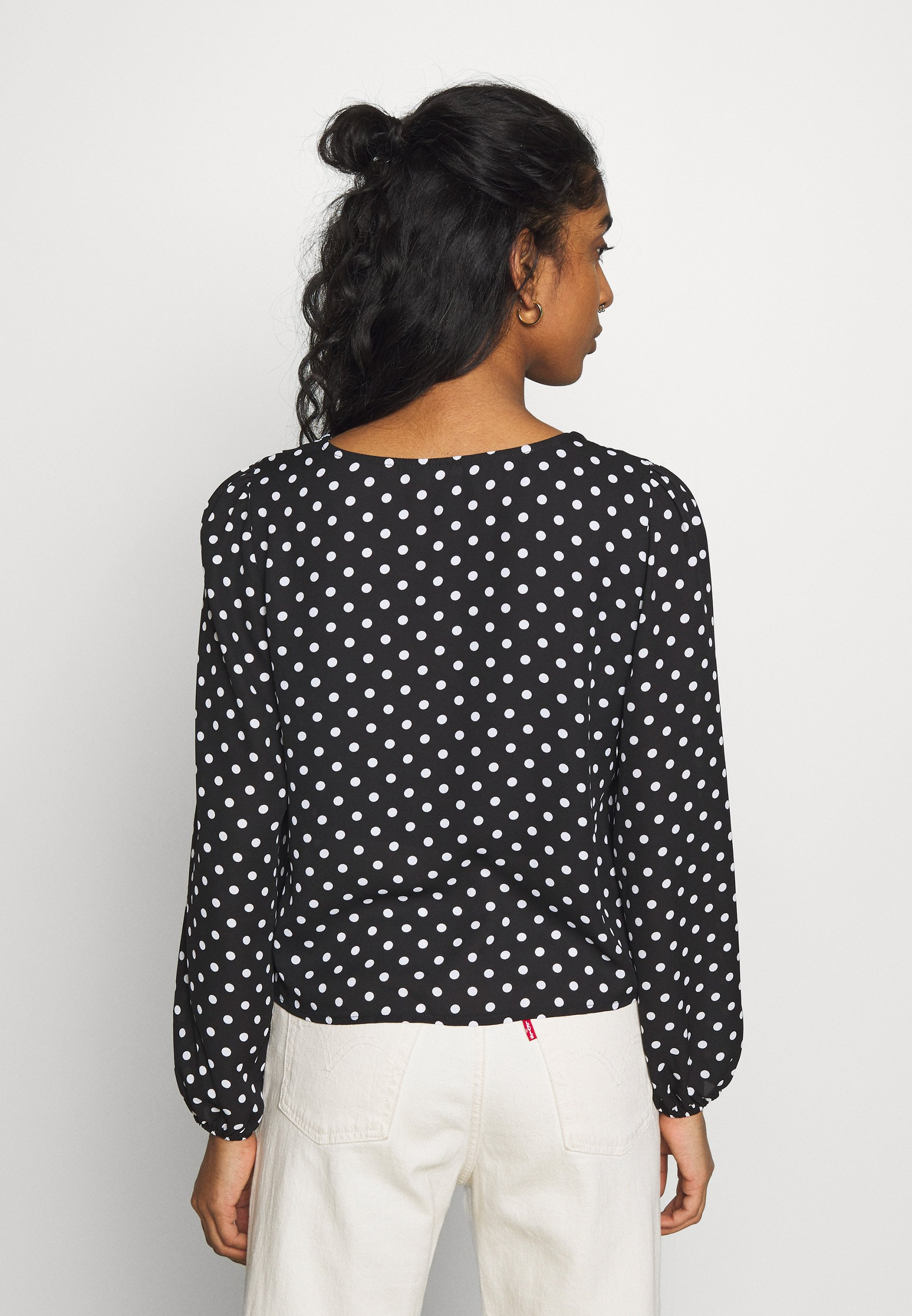 New Look SPOT FRONT BUST SEAM CROP - Bluser - black