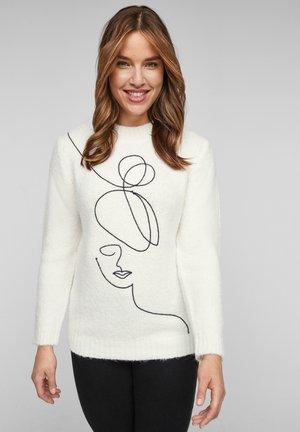 Fleece trui - cream knit