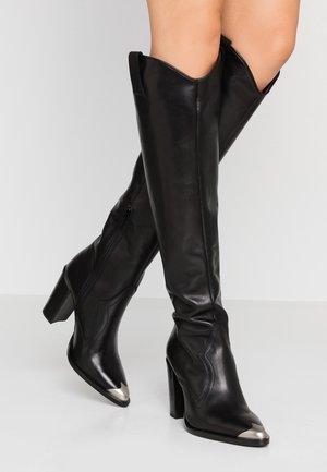 NEW-AMERICANA - Kozačky nad kolena - black