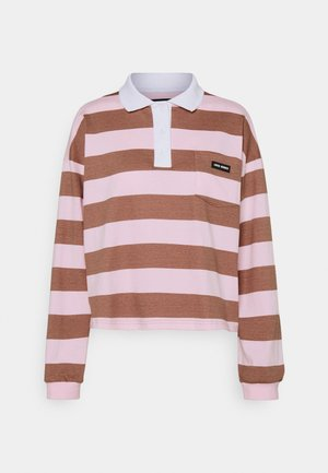 EASY STRIPED LONGSLEEVE - Polo shirt - brown/pink