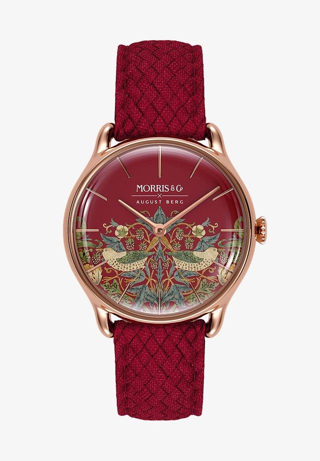 UHR MORRIS & CO ROSE GOLD RED PERLON 30MM - Horloge - crimson