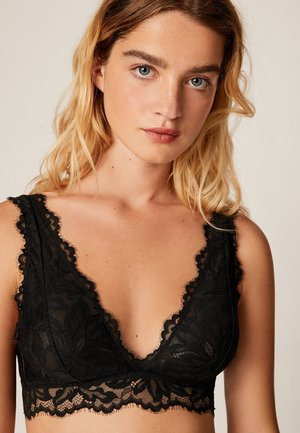MIT FLORALER SPITZE - Triangle bra - black