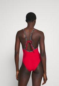 Calvin Klein Swimwear - CORE LOGO TAPE SQUARE NECK ONE PIECE - Swimsuit - rustic red - 2