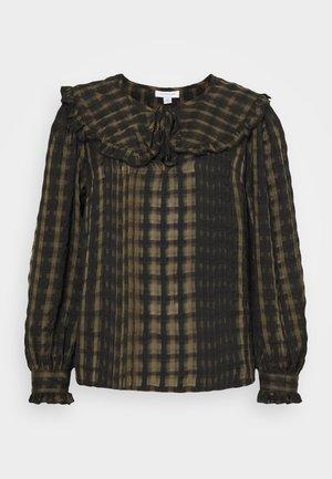 CHECK COLLAR - Maglietta a manica lunga - khaki