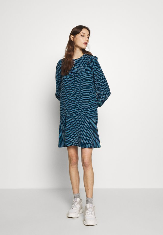 DAISY FRILL DRESS - Day dress - light blue/black