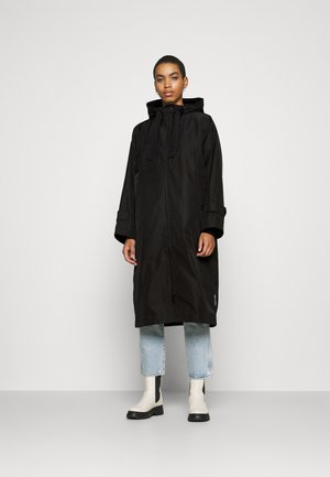 COAT DRAWSTRING WAIST - Waterproof jacket - black