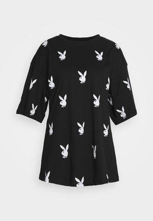 PLAYBOYOVERSIZED T-SHIRT DRESS - Sukienka z dżerseju - black/white