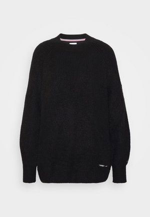 LOFTY YARN CREW NECK - Strikkegenser - black