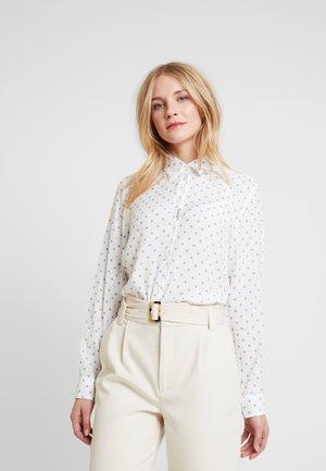 HEMDBLUSE LANGARM - Button-down blouse - weiß/blau