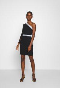 Calvin Klein Jeans - ASYMM MILANO LOGO FITTED DRESS - Shift dress - black - 1