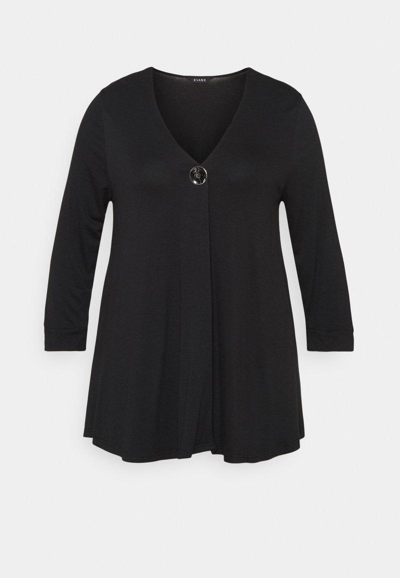 Evans - BIG BUTTON - Long sleeved top - black