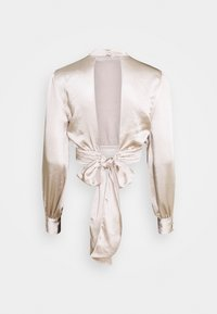 NA-KD - HIGH NECK BLOUSE - Long sleeved top - champagne - 1