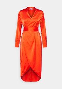 Never Fully Dressed Petite - LONGSLEEVE WRAP DRESS - Vapaa-ajan mekko - tangerine - 0