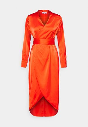 LONGSLEEVE WRAP DRESS - Korte jurk - tangerine