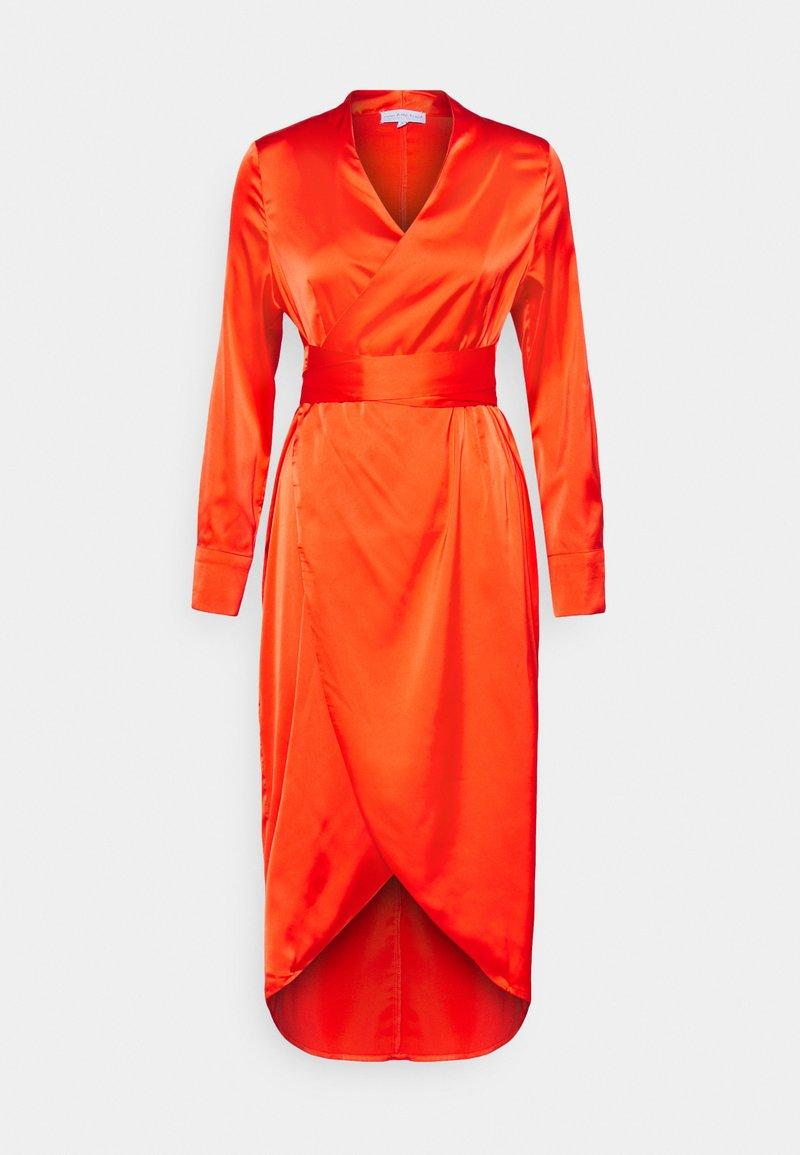 Never Fully Dressed Petite - LONGSLEEVE WRAP DRESS - Vapaa-ajan mekko - tangerine