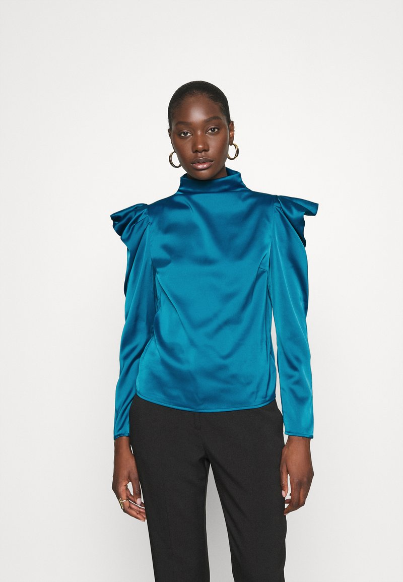 Who What Wear - HIGH NECK - Blouse - dark teal