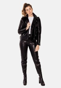 LEATHER HYPE - ALEX PERFECTO - Leather jacket - black with light silver accessories - 1
