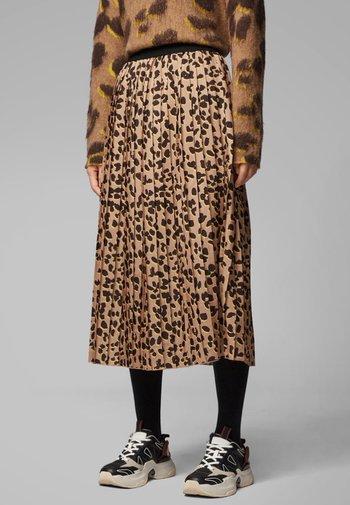 Pleated skirt - mottled brown