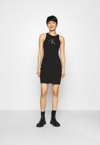 Calvin Klein Jeans - BONDED RACER BACK DRESS - Etuikleid - black - 0