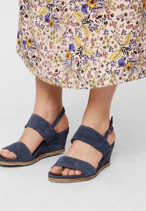Sandalen met sleehak - navyblue
