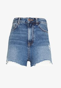 New Look Petite - HIGH RISE BEYONCE - Farkkushortsit - mid blue - 3