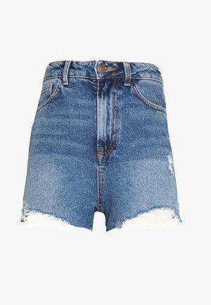 HIGH RISE BEYONCE - Denim shorts - mid blue