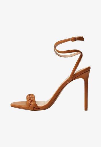 TREN - High heeled sandals - marron moyen